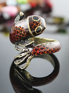 Retro Gold Fish Ring - Sheinside.com Recommended by http://www.fishinglondon.co.uk/ Fishing in London