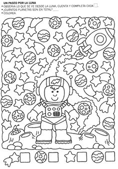 Album sous forme d& Preschool Worksheets, Kindergarten Activities, Teaching Math, Preschool Activities, Space Activities, Summer Reading Program, Hidden Pictures, Space Theme, Early Childhood Education