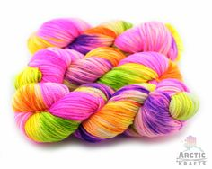 Psychedelic hand dyed superwash ultrafine merino by Arctickrafts