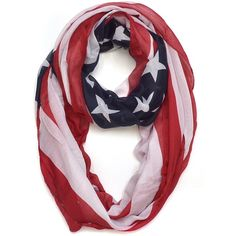 Dasein American Flag Colors Scarf (23 NZD) ❤ liked on Polyvore featuring accessories, scarves, blue, blue scarves, lightweight shawl, blue infinity scarves, american flag scarves and american flag shawl