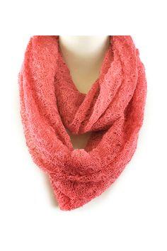 Crochet Infinity Scarf in Blush.