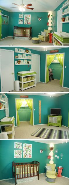 In love with this nursery. I know you can't paint your walls but...