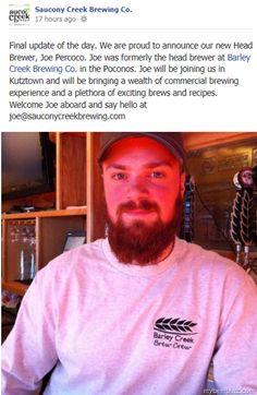 Joe Percoco Named Head Brewer @ Saucony Creek Brewing Co