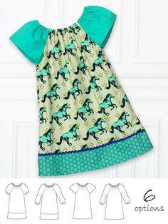 ANNA - Girls Peasant Dress Patterns - 3 sleeve options