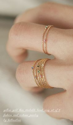 Gold Thin Stack Rings Set of 6 from http://Kellinsilver.com – thin gold stackable rings, thin gold ring, thin gold ring band