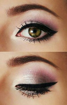 Pink make up with cats eye eye-liner