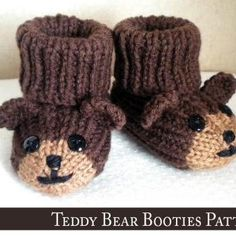 Teddy Bear Baby Booties Knitting Pattern