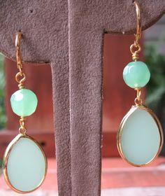Light Green and Gold Womens Earrings by GoddessGemsDesigns on Etsy