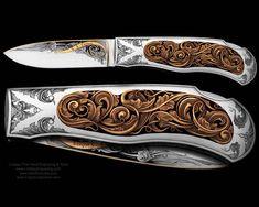 Folding knife engraved by Steve Lindsay