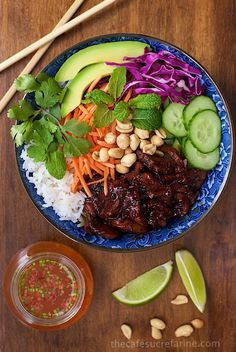 """Vietnamese Caramelized Pork Salad Bowls - if you look up fresh and delicious in the dictionary, you might just see a picture of this fabulous dish. It's sweet, salty, spicy and FRESH all rolled into one! Do you have a dictionary nearby? Grab it - and if you have a minute to look up """"fresh-delicious-and-vibrant"""" I'm quite certain you'll see something similar to these Vietnamese Caramelized Pork Salad Bowls. In all fairness though, I do have to warn you.. Once you try this fabulous cuisine…"""
