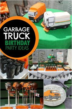 """A garbage truck inspired birthday party? Get """"trashy"""" décor, activity and treat inspiration right here. A garbage truck birthday party never looked so good!"""