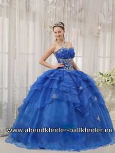 Dunkel Blaues Organza Sissi Ballkleid Abendkleid Mit Corsage
