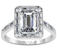 Emerald (CUSHION*** ;)) Halo Engagement Ring with Baguette and Round Diamond Accents
