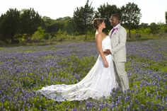 Bride and groom in the bluebonnets