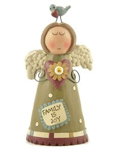 Blossom Bucket 'Family Is Joy' Angel & Bird Figurine Decorative Objects, Decorative Plates, Biscuit, Garden Items, Luxury Decor, Miniature Fairy Gardens, Farmhouse Decor, Personalized Gifts, Goodies