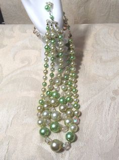 1950's+Jewelry+Green+Pearl+Necklace+Rainbow+Crystal+by+ZasuVintage,+$39.00