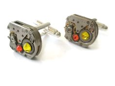 Steampunk Cufflinks Square Oval  vintage by FruttiTuttiBeadCandy