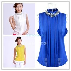 2014 New Korea blouses & shirts Women summer Plus Size Lady Rhinestone Embellished Collar Sleeveless Chiffon Tops Shirt 1425 US $7.80