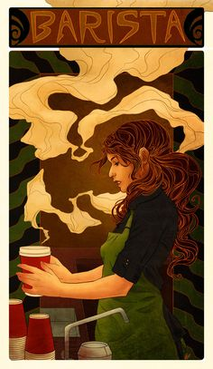 Barista art nouveau ~ I need my own personal barista ~