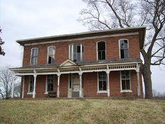 abandoned brick farmhouse near Nelsonville.
