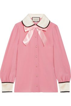 1daff8f2ab98df Gucci - Faux Pearl And Bow-embellished Silk Crepe De Chine Shirt - Pink