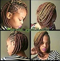 Stunningly Cute Ghana Braids Styles For 2020 - Lab Africa Big Box Braids, Bob Braids, Ghana Braids, Tree Braids, Short Braids, Jumbo Braids, African Braids Hairstyles, Girl Hairstyles, Braided Hairstyles