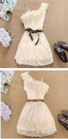 Wholesale Sweety Solid Color Ruffles One-Shoulder Chiffon Dress For Women (APRICOT,ONE SIZE), Chiffon Dresses - Rosewholesale.com