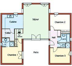 Maison en u avec patio maelle pinterest terrasse for Maison conteneur 120m2