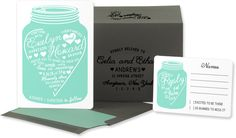 Our Mason Jar Wedding Invitations combine playful type styling with a sophisticated aqua and slate color scheme.