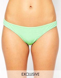 Bikinihose von ASOS Collection Stretchmaterial für Bademode tiefer Hüftschnitt schlichtes Design brasilianischer Schnitt mit mittlerer Bedeckung hinten Handwäsche 80% Polyamid, 20% Elastan