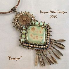 Eowyn  Bead Embroidery Pendant Statement by DaynaMilesDesigns