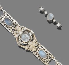A moonstone cameo, moonstone and diamond bracelet and a moonstone cameo and diamond brooch, 19th and 20th century  The bracelet, circa 1930, composed of rectangular foliate links, each set to the centre with an oval cabochon moonstone, to a central 19th century plaque set with a carved 'man-in-the-moon' moonstone, between old brilliant-cut diamond terminals, the late 19th century carved moonstone cameo brooch of similar design, lengths: bracelet 17.5cm., brooch 3.1cm