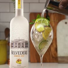 A cocktail you'll want to pour all night: Ginger Zest Spritz. 1 oz Belvedere Ginger Zest / 1 oz Lime Juice / .5 oz Honey Syrup / 2 oz Soda Water / 2 oz Tonic Water. Belvedere is a quality choice. Drinking responsibly is too. Booze Drink, Liquor Drinks, Wine Mixers, Alcoholic Drinks, Beverages, Classic Cocktails, Fun Cocktails, Cocktail Drinks, Summertime Drinks