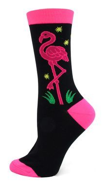 Pink flamingo novelty socks light up the night in bright pink and green neon colors set boldly against a black background and neon yellow stars. Cotton, Nylon, Polyester, Spandex Blend / Adult Size Me