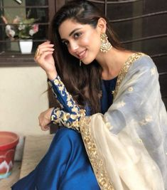 Buy Prussian Blue Silk Anarkali Suit With Zari Work - Salwar Kameez for Women from Andaaz Fashion at Best Prices. Style ID: Pakistani Party Wear Dresses, Eid Dresses, Pakistani Outfits, Indian Outfits, Pakistani Models, Pakistani Actress, Pakistani Girl, Girl Photo Poses, Girl Photography Poses