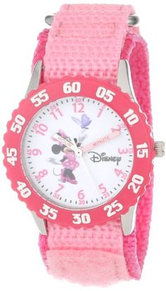 "Disney Girls' W000025 ""Time Teacher"" Stainless Steel and Nylon Minnie Mouse Watch - http://www.watchesandstuff.com/disney-girls-w000025-time-teacher-stainless-steel-and-nylon-minnie-mouse-watch/"