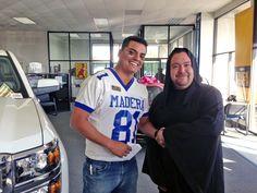 Halloween fun at Madera Toyota! Costume ideas: Football Star and Grim Reaper.