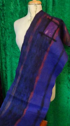 Felted scarf, original design,Organic, Hand made, in USA, gypsy shawl, Fashion scarf,winter scarf, Wearable art,healthy fashion, stretchy     This is one of kind wearable art.  Hand made from organic materials - super fine wool, silk, exotic fibers, trough the unique wet/nuno felting process.  Hand painted silk fabrics.  Original design work.    Approximate size  L 160-180  M 40-50    Made in mind to give every woman remarkable outfit!  Perfect gift.    The wool is not only original fibers…