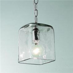 "Over island: Small Square Glass Pendant Light with Chain, 7- 8""Hx5.5""W $145"