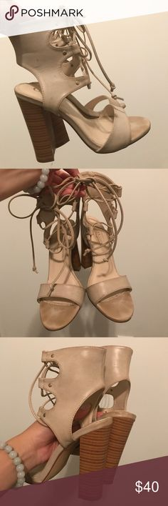 Nude lace up heels 4 inch, tan, chunky heels. Shoes Heels