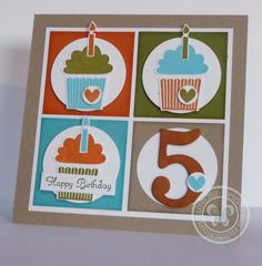 "SU Chipboard Numbers, Pumpkin Pie, Crumb Cake, Old Olive, Whisper White and Tempting Turquoise card and ink pads to match. I cut the squares 2"" and used the 1 3/4"" circle punch for circles behind the cupcakes."
