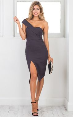ef5972fe55c9 Showpo By Your Side dress in charcoal - 12 (L) Occasion Dresses Lace Up