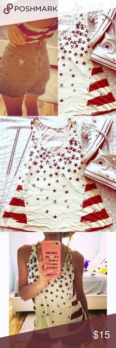 Red White & Blue tank top Get ready for July 4th in this Stars & stripes tank top!!!! great for after the holiday too!! Racerback! Super soft!! XS but will also got S offers welcome✌️boutique bought Tops Tank Tops