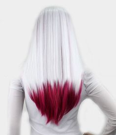 Silvery white hair with ends in dark red