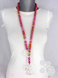 Collier BE HAPPY - Orange/Rose - http://www.misslou.be