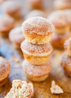 Cinnamon Sugar Mini Donut Muffins - Part mini muffin, part donut hole. Baked rather than fried. Fast, easy, soft & moist! Recipe at averiecooks.com