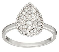 Pave' White Diamond Ring, Sterling Silver 1/4 cttw, by Affinity