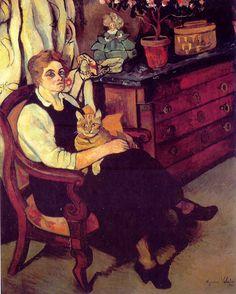 Portrait of Miss Lily Walton with Raminou, 1922 - Suzanne Valadon (French, 1865-1938) Post-Impressionism