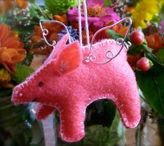 Felt Flying Pig Ornament by Schuylark on Etsy, $15.00