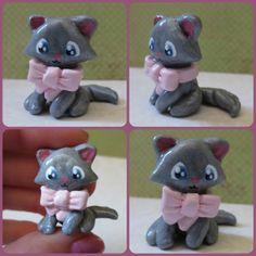 Polymer Clay Gray Kitten